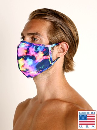 Model in neon clouds LASC Fashion Face Mask