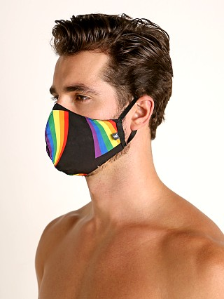 Model in black rainbows Tulio Face Mask