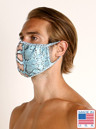 Model in blue snake Rick Majors Fashion Face Mask