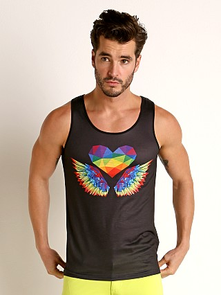 Model in black/multi St33le Printed Stretch Jersey Tank Top Rainbow Wings