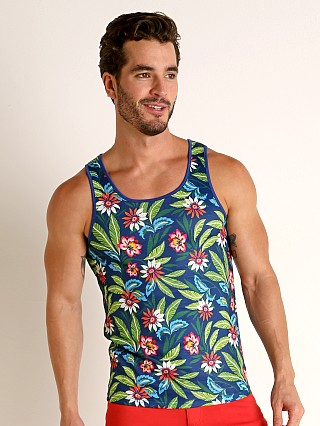 Model in navy/green St33le Printed Stretch Jersey Tank Top Navy Floral