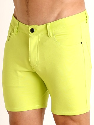 Model in citrus St33le Knit Jeans Shorts