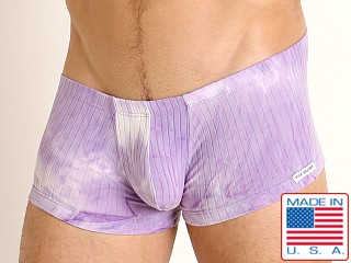 Model in lavender Rick Majors Plush Tie-Dye Trunk