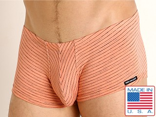 Model in peach Rick Majors Vintage Stripe Trunk