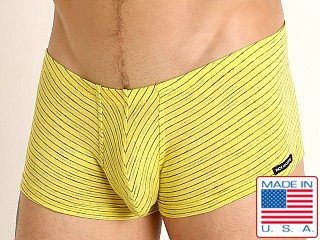Model in yellow Rick Majors Vintage Stripe Trunk