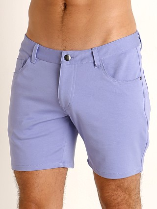 Model in orchid St33le Knit Jeans Shorts