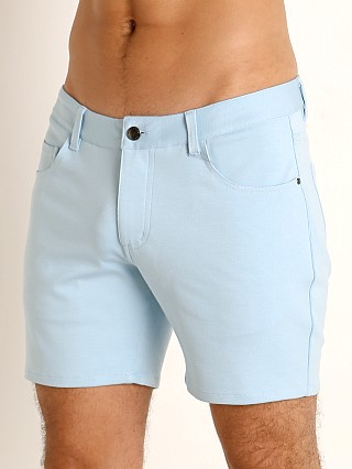 Model in glacier blue St33le Knit Jeans Shorts