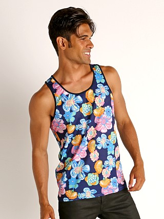 Model in royal/pink St33le Printed Stretch Mesh Tank Royal Floral