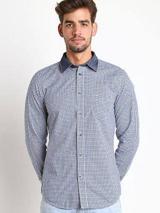Model in blue Diesel S-Vic Yarn Dyed Check Cotton Shirt