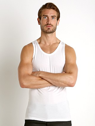 Model in white Calvin Klein Ultra Soft Modal Lounge Tank Top