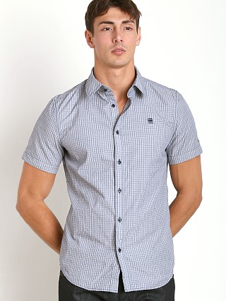 Model in swedish blue G-Star Valdo Core Shirt