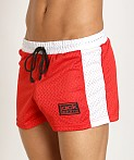 Jack Adams Air Mesh Gym Short Red/White, view 3