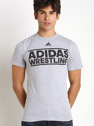 Model in grey/black Adidas Wrestling Team T-Shirt