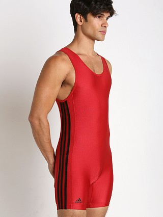 Model in red/black Adidas 3 Stripe Wrestling Singlet