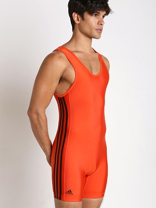 Model in orange/black Adidas 3 Stripe Wrestling Singlet