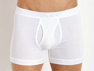 Model in white 2xist Pima Boxer Brief