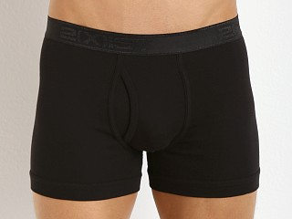 Model in black 2xist Pima Boxer Brief