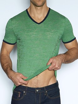 C-IN2 Hand Me Down Ringer V-Neck Shirt Lucky Green