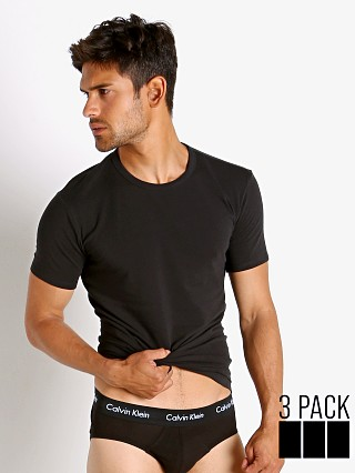 Model in black Calvin Klein Cotton Stretch Wicking Crew Neck Shirt 3-Pack