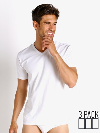 Model in white Calvin Klein Cotton Stretch Wicking V-Neck Shirt 3-Pack