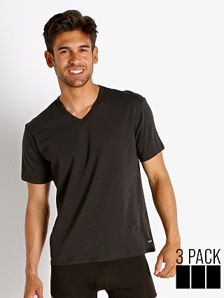 Model in black Calvin Klein Cotton Stretch Wicking V-Neck Shirt 3-Pack