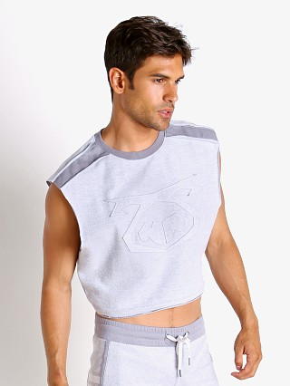 Model in grey Nasty Pig Brawler Crop Top Shirt