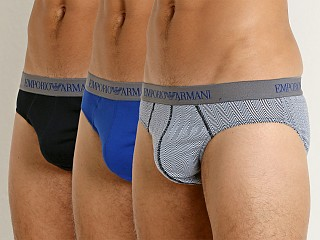 Emporio Armani Genuine Cotton Brief 3-Pack Marine/Chevron/Blue