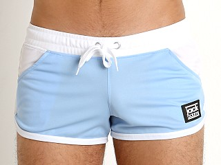 Model in sky/white Jack Adams Ultralite Running Short