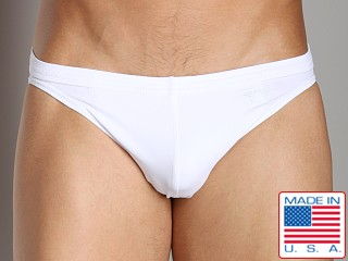 Model in white LASC St. Tropez Low Rise Swim Brief