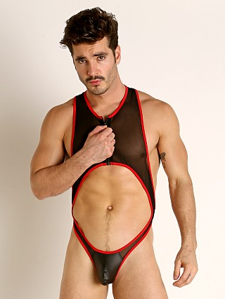 Complete the look: Rick Majors Mesh Thong Bodysuit Black/Red