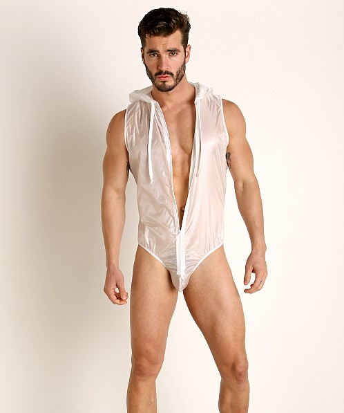 Rick Majors Ripstop Wet Look Hooded Bodysuit White