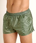 Rick Majors Ripstop Wet Look Shorts Olive, view 3