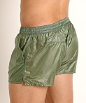 Rick Majors Ripstop Wet Look Shorts Olive, view 4