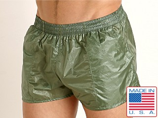Model in olive Rick Majors Ripstop Wet Look Shorts