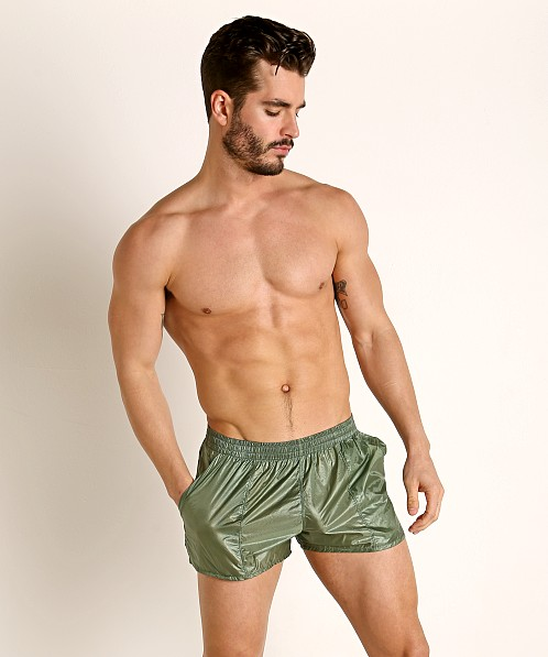 Rick Majors Ripstop Wet Look Shorts Olive