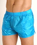 Rick Majors Ripstop Wet Look Shorts Turquoise, view 3