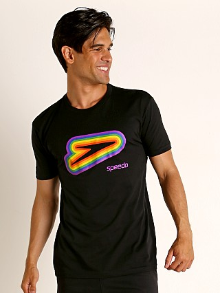 Model in black/rainbow Speedo Logo Rainbow Pride Tee