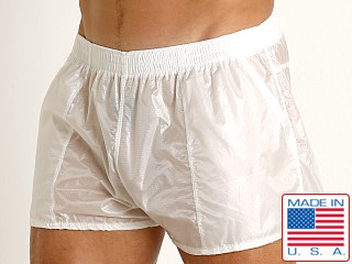 Model in white Rick Majors Ripstop Wet Look Shorts