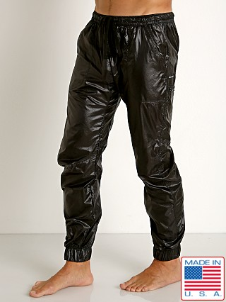Model in black Rick Majors Ripstop Wet Look Cargo Pants