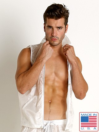 Model in white Rick Majors Ripstop Wet Look Sleeveless Hoodie