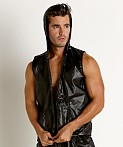 Rick Majors Ripstop Wet Look Sleeveless Hoodie Black, view 3