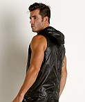 Rick Majors Ripstop Wet Look Sleeveless Hoodie Black, view 4