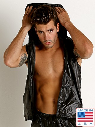 Model in black Rick Majors Ripstop Wet Look Sleeveless Hoodie