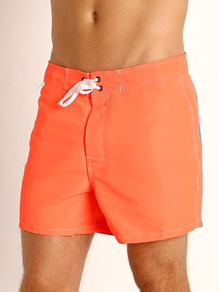 "Model in fluo orange #9 Sundek 14"" Classic Low-Rise Boardshort"