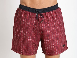 Model in red Hugo Boss Kingfish Swim Shorts