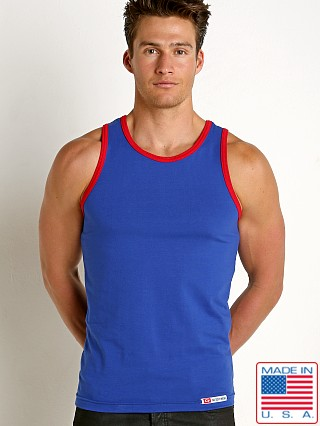 Model in royal/red Go Softwear California Classic Tank Top