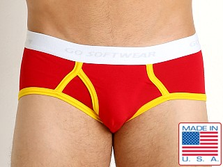 Model in red/gold Go Softwear California Classic Boy Brief