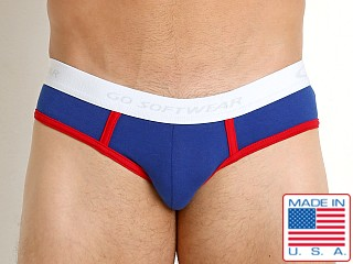 Model in royal/red Go Softwear California Classic Low Rise Brief