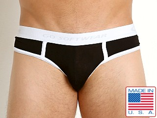 Model in black/white Go Softwear California Classic Low Rise Brief