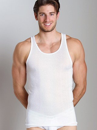 Model in white 2xist 3-Pack Tank Tops